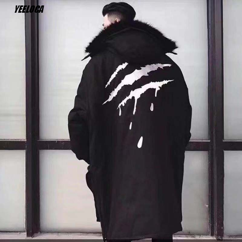 De Hommes Col Haute Qualité 2018 Manteaux Noir Coton Griffe Modis Os Sang Hip Molletonnés Capuchon amp; Fourrure Le À Pour Veste Pulls Plus Survêtement Hop Hiver xnTYAWrT