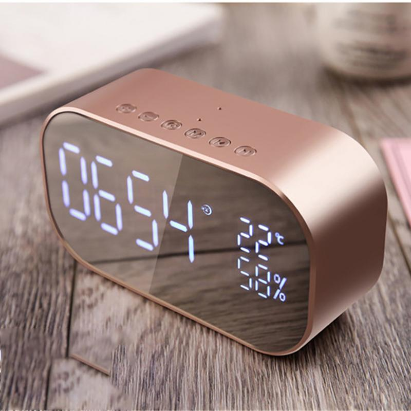 New Hot Portable FV-S2 Wireless Bluetooth Speaker Column Subwoofer Music Sound Box LED Wireless Speaker With Alarm Clock Mirror