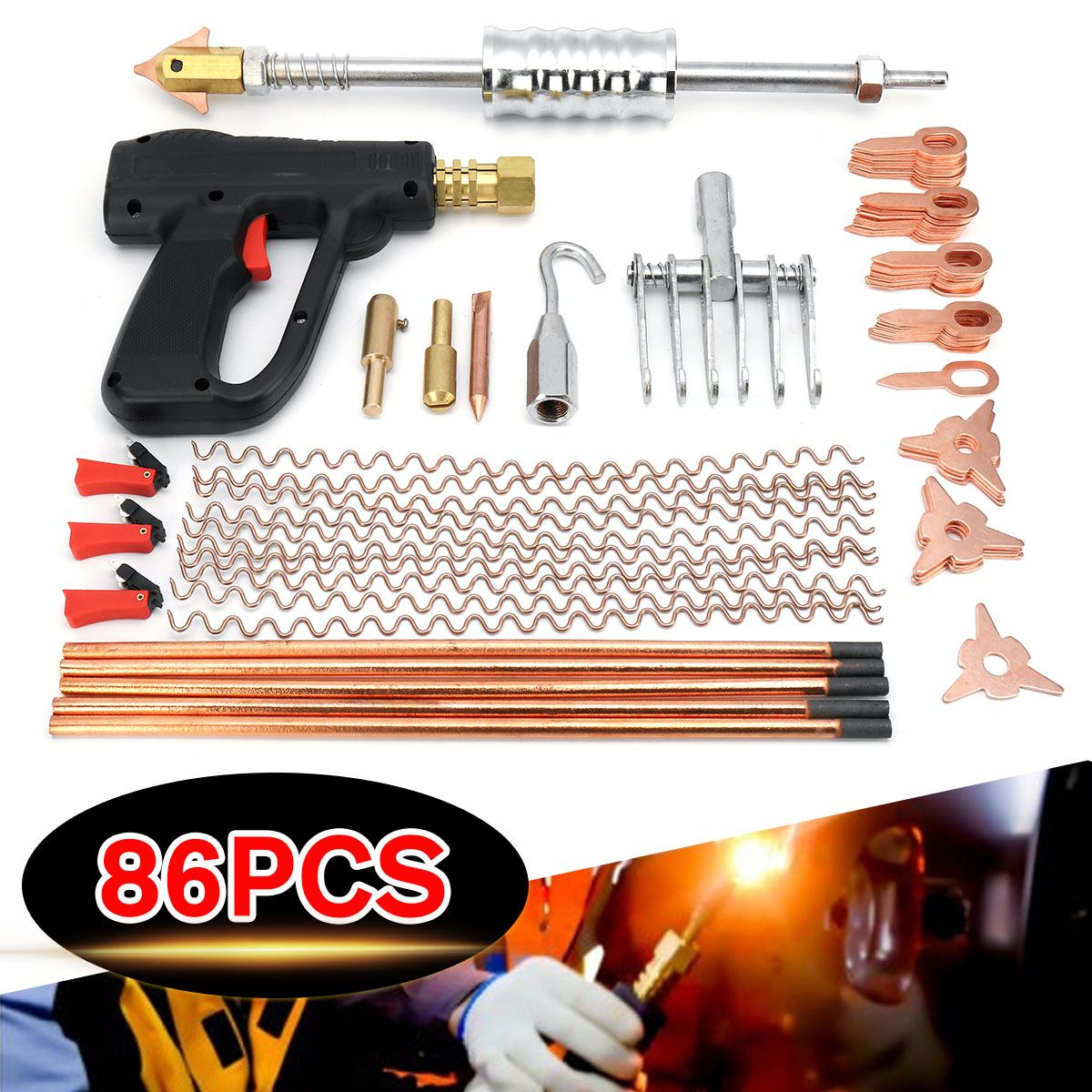 86pcs 1 Set Car Body Dent Repair Puller Kit Dent Spot Removal Repair Tool Kit Device Welder Stud Welding Machine Pulling Hammer