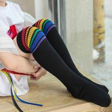 high Socks quality Thigh High Over Knee Rainbow Stripe Girls long socks women over knee stripe Women Soft Knit