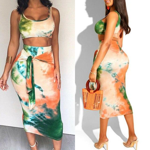 2-Piece Tie Dye Tank Cami & Skirt 5