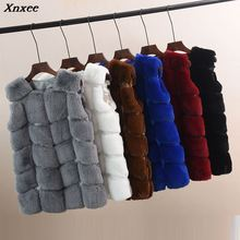 Faux Fur Coat Winter Women 2018 Casual Plus Size Warm Sleeveless Fox Vest Jacket casaco feminino 5XL