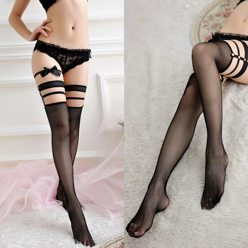 Women Sexy Lingerie Bow Top Stay Up Tights Black Pantyhose Thigh-Highs Stockings