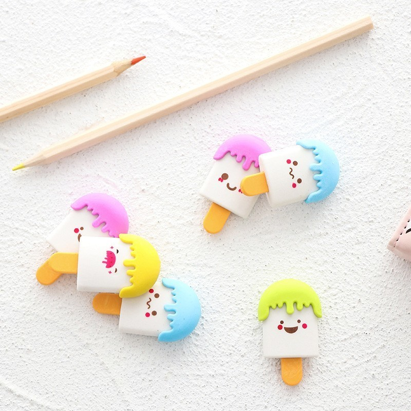 1PCS New Kawaii Smiley Popsicle Pencil Eraser Stationery School Rubbers Office Supplies Student Rewarding