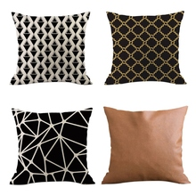 Pack of 4 Decorative Cushion Throw Pillow Covers Linen ,Modern Geometric Wave Patterns,Decorative For Sofa Bedr
