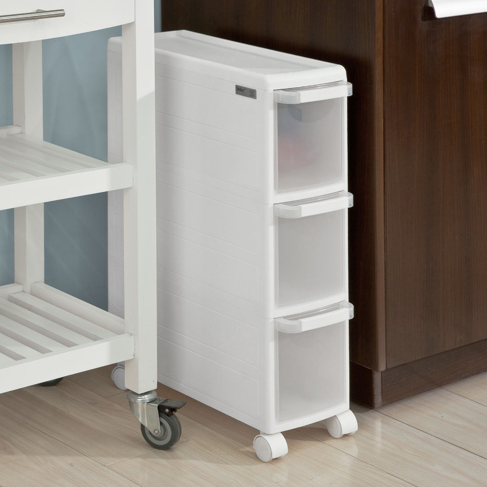 SoBuy  FRG41-K-W, 3 Drawers Plastic Storage Unit on Wheels, Trolley with Drawers, Slide Out Cabinet RackSoBuy  FRG41-K-W, 3 Drawers Plastic Storage Unit on Wheels, Trolley with Drawers, Slide Out Cabinet Rack