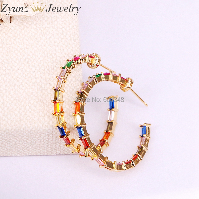 5Pairs Gold color round circle geometric stud earring Baguette rainbow colorful cz paved fashion trendy jewelry