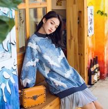 [ Jin Zi ]2018 Autumn New Pattern Blue Split Joint Gauze Leisure Time Easy Round Neck Horn Sleeve Dress Woman