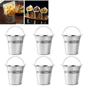 1 set (6 pieces) Silver Mini Metal Small Iron Bucket Home Decor Bucket French Fries Bucket Flower Bucket Size: 10.5x8x12cm фото