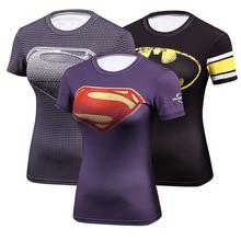 Women Compression T Shirt Dry Quick Short Sleeve T-shirts Fitness Elastic Slim Superman Printing Tight T-shirt