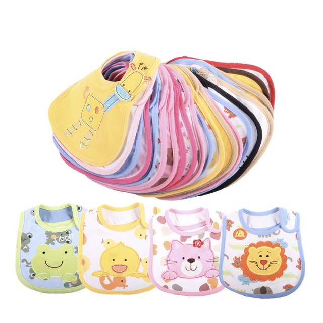1PCS Baby Bibs Cotton Cute Cartoon Pattern Toddler Baby Bibs Waterproof Saliva Towel Fit 0-3 Years