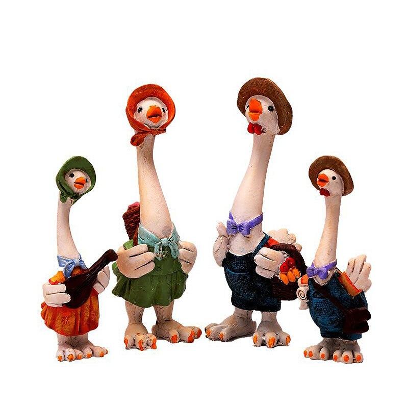 4 pièces/ensemble décor à la maison créatif canard famille ornements résine canard poupée artisanat Animal Figurine Miniature décor à la maison accessoires cadeaux