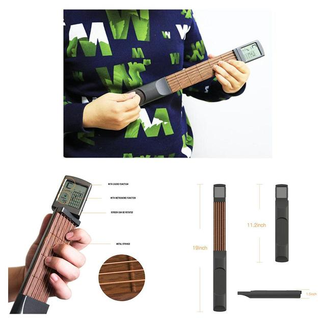 Brand New Pocket Guitar Electric Guitar 6 Strings Guitar Gadgets Aerial Finger Exerciser Train Practice Tools with Chord Display 1