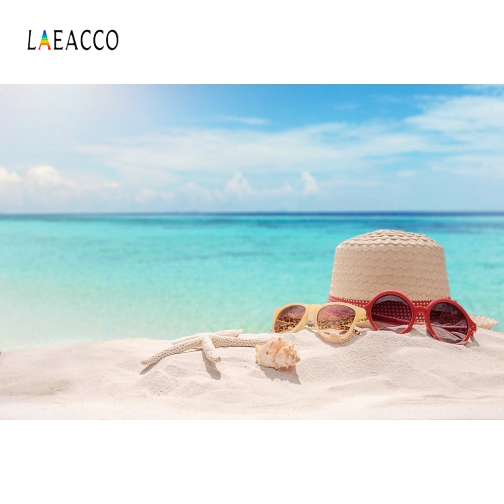 Laeacco Summer Sea Beach Hat Tropical Backdrop Photography Backgrounds Customized Photographic For Photo Studio