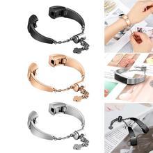 Correa de reloj de moda duradera de acero inoxidable de reemplazo de correas de muñeca accesorios de pulsera de mujer para Fitbit Alta HR/Fitbit