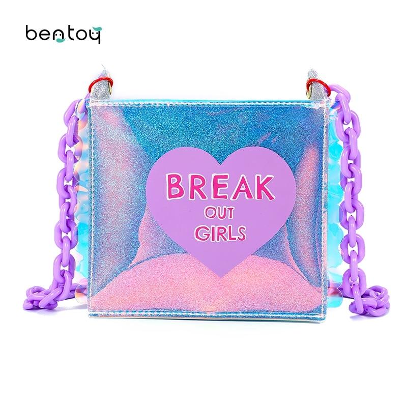 Nya 2018 Sommar hologram handväskor för kvinnor söt hjärta print - Handväskor - Foto 1