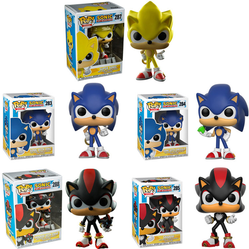 FUNKO POP SUPER SONIC Vinyl Dolls #283 SONIC WITH RING/EMERALD SHADOW Collectible Model Action Figure Toys for Birthday Gift(China)