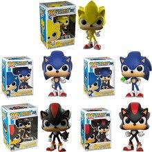 Funko Pop Super Sonic Vinyl Poppen #283 Sonic Met Ring/Emerald Shadow Collectible Model Action Figure Speelgoed Voor verjaardagscadeau