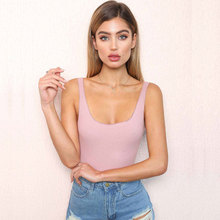 Aocharm Backless Bodysuit Women Sleeveless Summer Beach Hot Sexy Slim Fashion Body Rompers Bodysuits Jumpsuits Black Pink