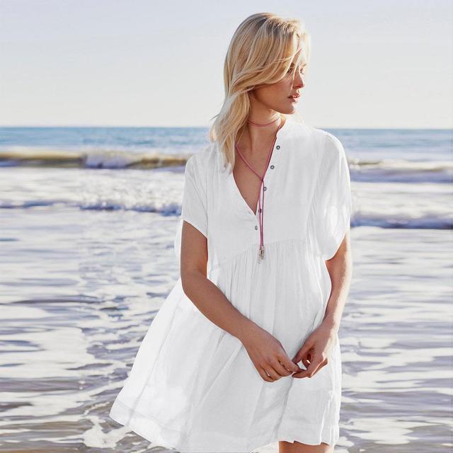 Women Summer Button Solid Bikini Swimwear Cover Up Beach Shirt Casual Regular Fit