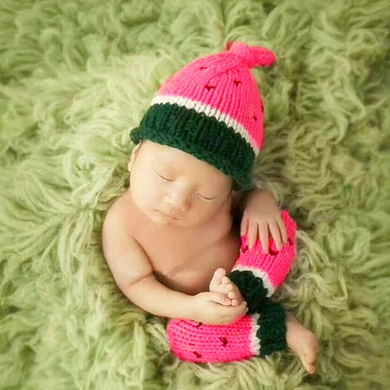 Newborn Photography Props Knitted Baby Costumes Watermelon Hat+Legging Set Crochet Baby Clothes Newborn Photography Accessories