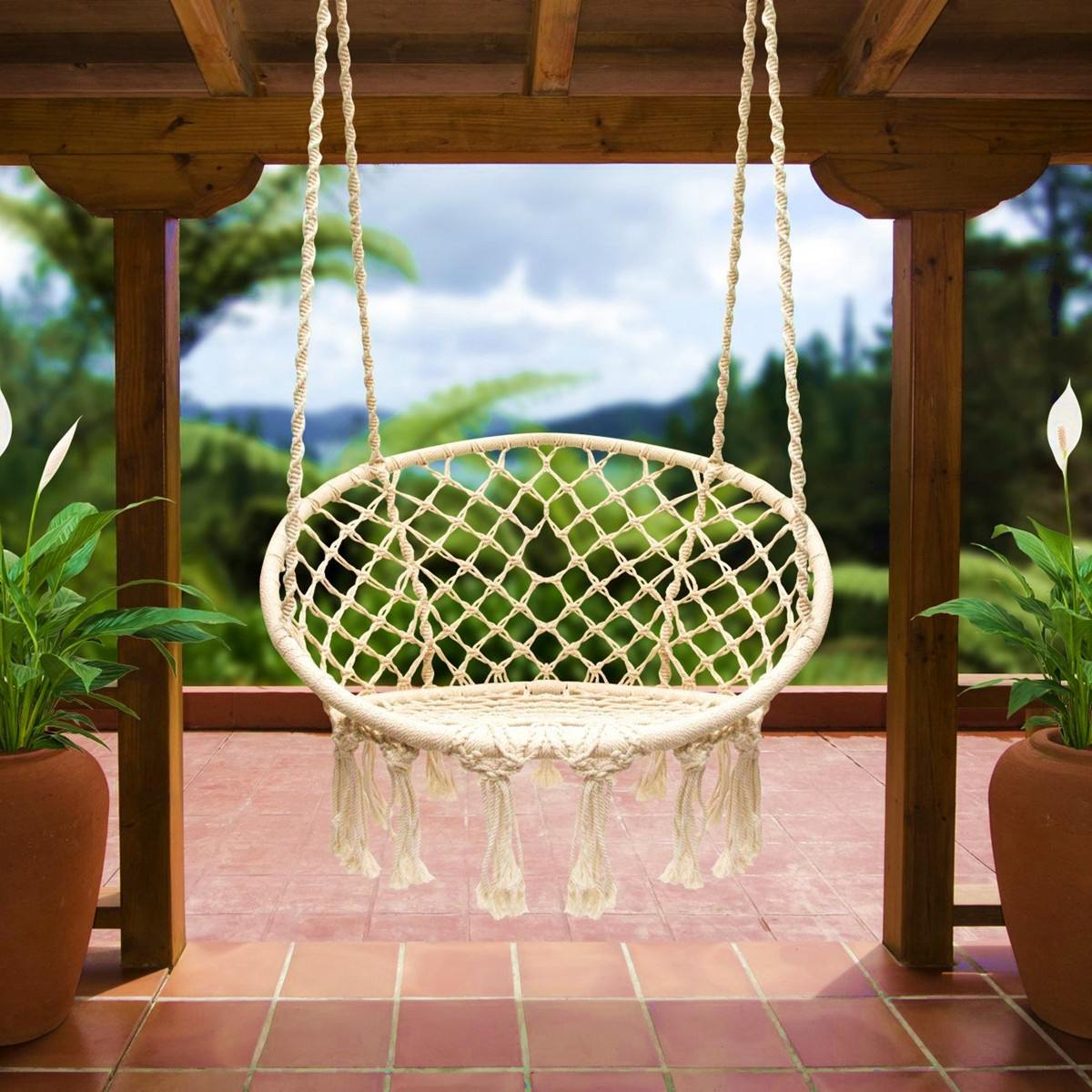 Handmade Knitted Round Hammock Outdoor Indoor Swing Bed Chair Hanging Comfort V3