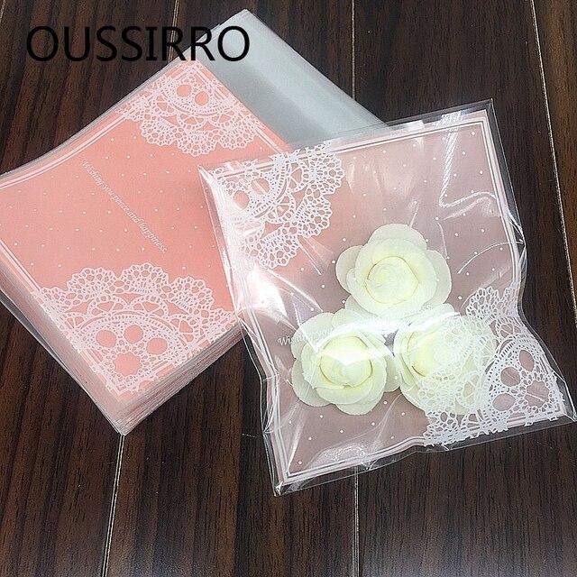 Presentes 25 pçs/lote Lindo Laço Cor de Rosa Sacos de Embalagem De Biscoito Do Natal Auto-adesivo Pacote de Bolo de Biscoitos Doces de Plástico Sacos de Jóias