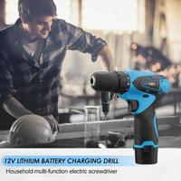 12V Cordless Drill Lithium Electric Charging Drill Household Multi functional Electric Screwdriver with Working Lamp