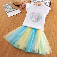 2019 Summer Unicorn Dress for Girls Cotton Sleeveless Party Princess Dresses Sequined Kids Easter Costume