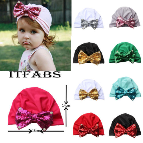 Baby Toddler Girls Cute Glitter Sequin Bowknot Turban Hat Stretchy Beanie Cap