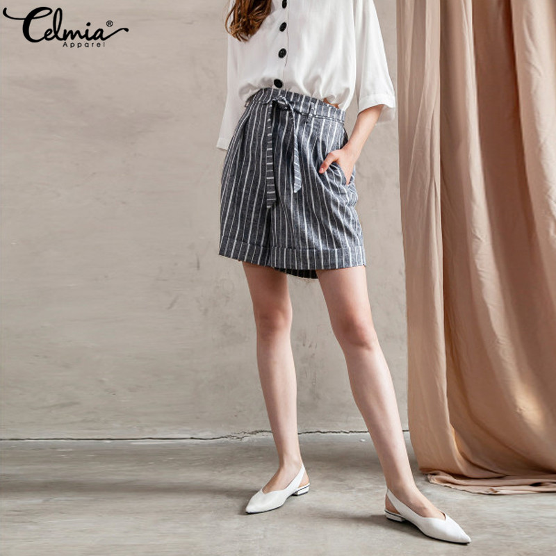 2019 Summer Beach Casual Shorts Celmia Fashion Women Striped Boho Shorts Female High Waist Loose Bottom Vintage Shorts Plus Size