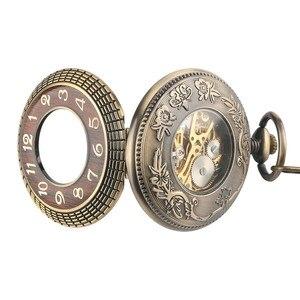 Image 5 - Conception en bois de luxe montre de poche mécanique Vintage exquis pendentif montre creux main remontage montre cadeaux chaîne en Bronze avec