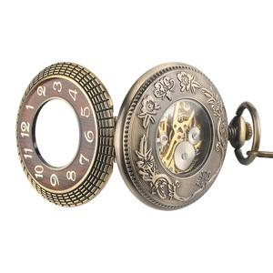 Image 5 - Orologio da tasca meccanico di Design in legno di lusso orologio da ciondolo squisito Vintage orologio a carica manuale cavo regali catena in bronzo con