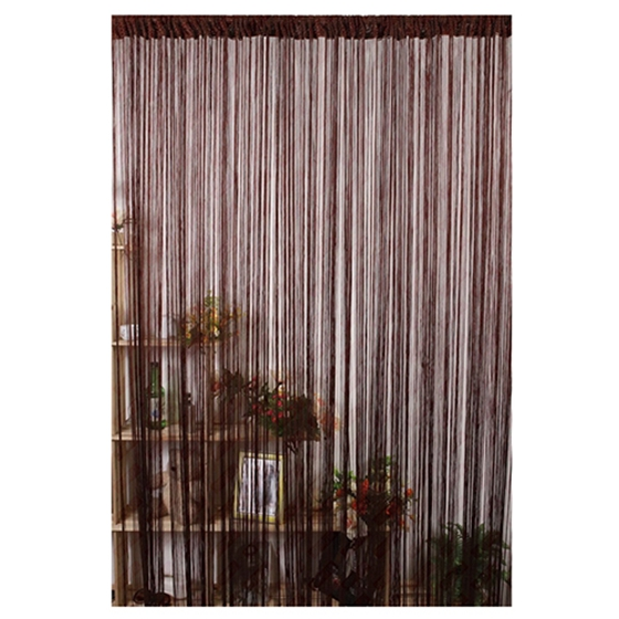 LBER Striking New Line String Window Curtain Tassel Door Room Divider Valance Dark Brown