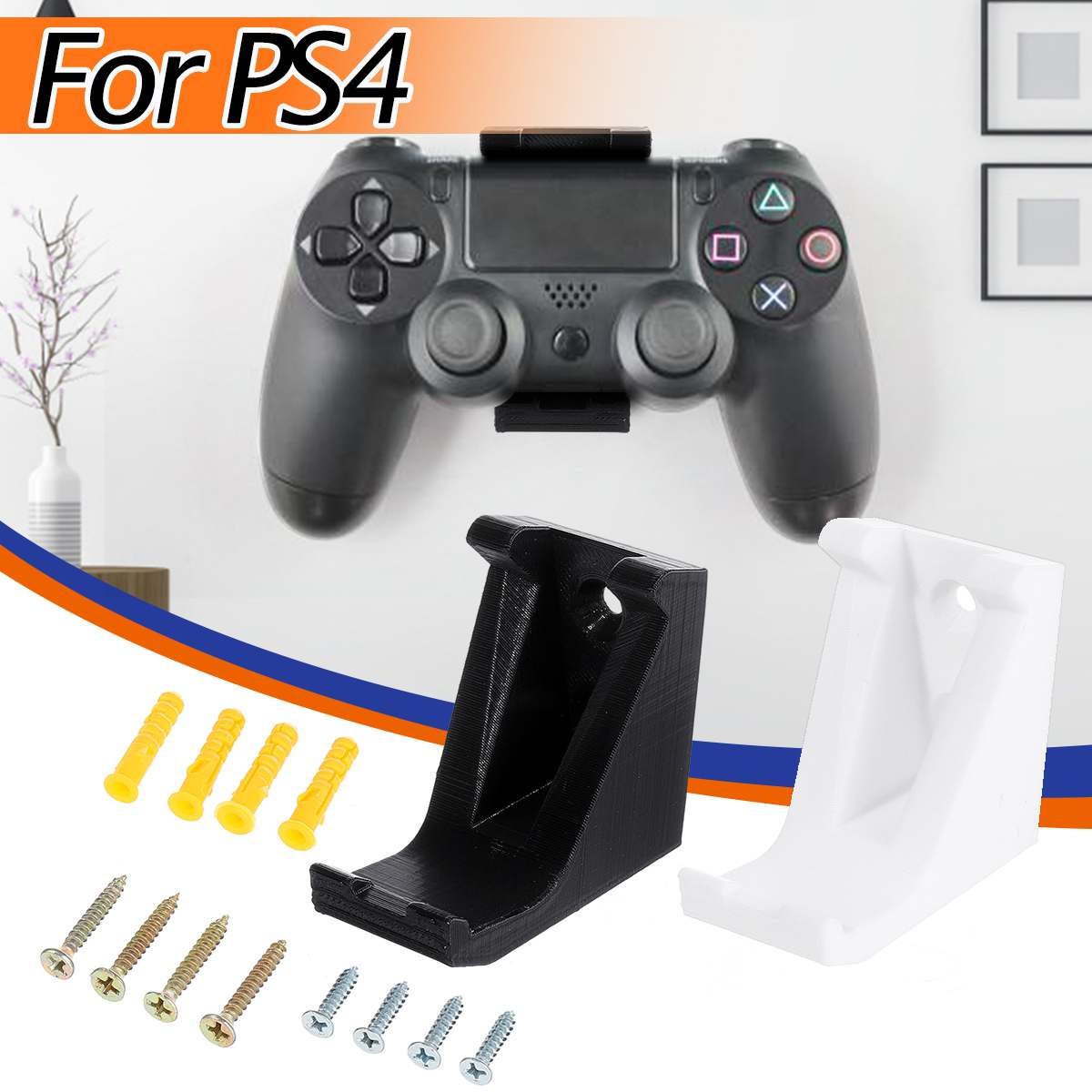 White/ Black Wall Holder For PS4 For Playstation 4 Controller Game Pad Dock Gamepad Stand Holder 3D Printed with ScrewsWhite/ Black Wall Holder For PS4 For Playstation 4 Controller Game Pad Dock Gamepad Stand Holder 3D Printed with Screws