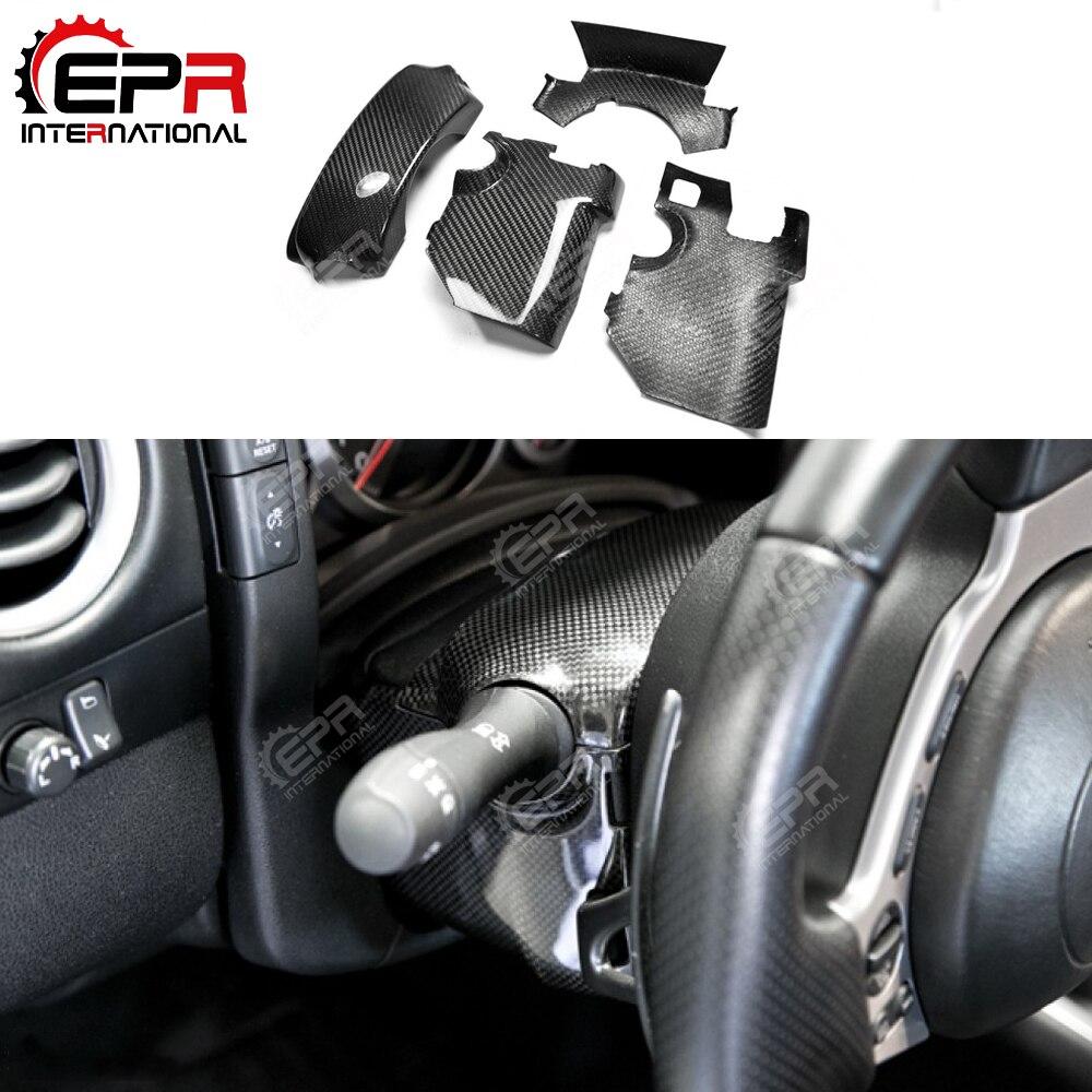 Kolumna kierownicy z włókna węglowego zestaw wykończeniowy Surround błyszczące wykończenie wewnętrzna osłona zestaw wykończeniowy z włókna szklanego zestaw dryfujący dla Nissan R35 GTR LHD