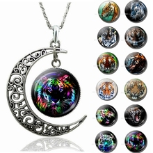 Fashion Accessories Cool Jewelry Aggressive Tiger Pattern Crescent Moon Necklace Glass Cabochon Dome Pendant Birthday Gift heat 2019 new lightning pattern glass cabochon jewelry necklace pendant popular jewelry gift fashion banquet