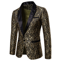 Jacket Men Leisure Blazer Jacket Mens Full Suits Blazers Casual Slim Fit Club Party Host Sequins Flower Embroidery Perform Tops