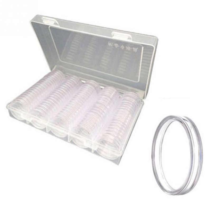Фото Горячая продажа 100 шт Монеты контейнер для мелочи прозрачный пластиковый круглый
