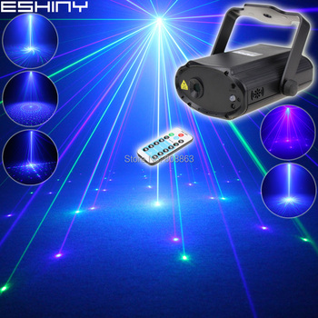 ESHINY Remote MINI Blue Green Laser 8 Big Patterns Projector DJ Dance Disco Bar Family Party Lighting Effect Light Show T176D3