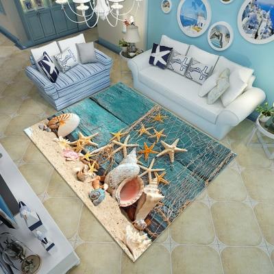 Multicolour 6mm ultra-thin 3D carpet Mediterranean Dolphin style Mat living room coffee table sofa bedroom floor Rug Customize