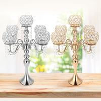 Crystal Candle Holder Wedding Candelabra Centerpiece Center Table Candlesticks Party Decor Lantern stand Silver/Gold home Dinner