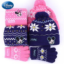 Genuine Disney 3 Pieces Set Snow Glove For Kids Girl Minnie