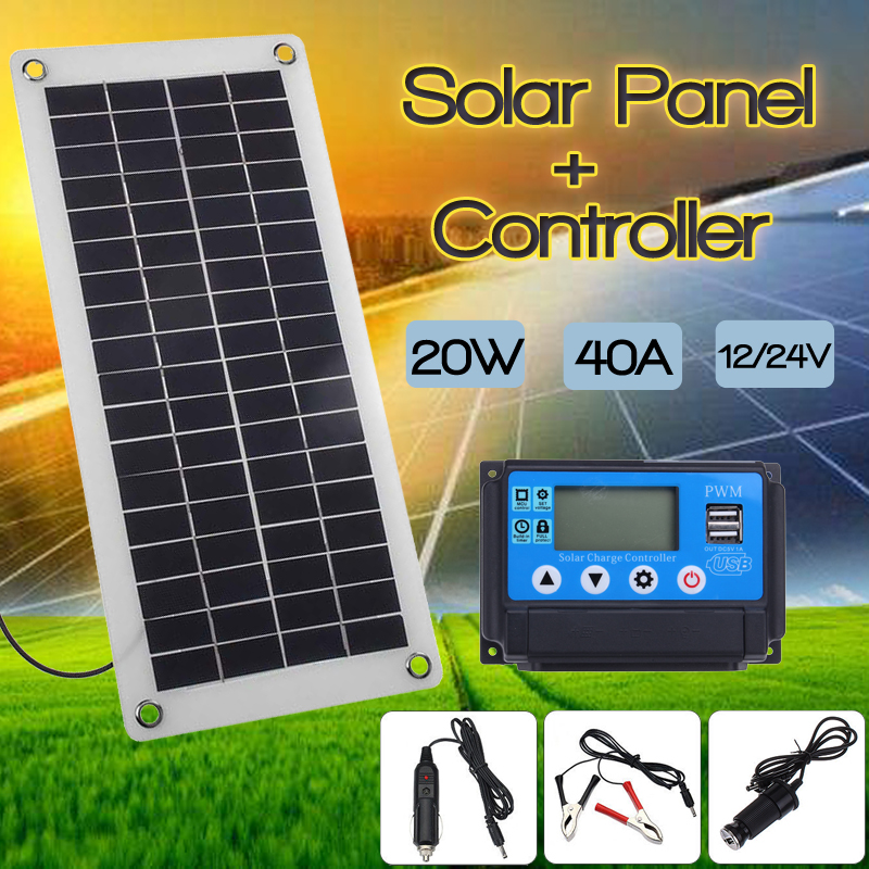 40A Solar Charge Controller Regulator + 20W Solar Panel 12/24V Portable Power Bank Board Automatic Identification PWN Battery 30a solar charge controller regulator 15w solar panel 12 24v portable power bank board automatic identification pwn battery