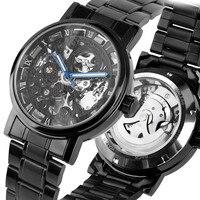 Mens Esqueleto Dial Banda de Aço Inoxidável Relógio Mecânico Automático Auto-Vento Relógio Mecânico Relógios Para Homens de Negócios