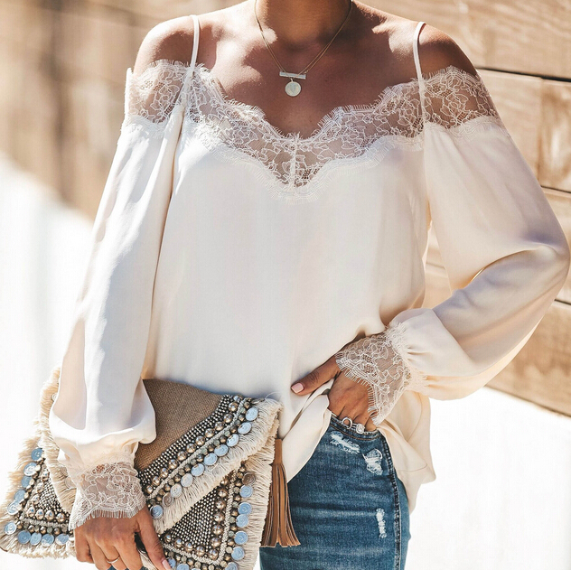 2019 Womens V-neck Lace Off Shoulder Blouses Summer Ladies Casual Loose Tops Jumper Shirt Blouses Clothes