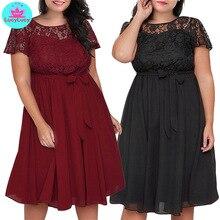дешево!  2019 лето Amazon новый большой размер женщины  кружева шить с короткими рукавами кружевном платье
