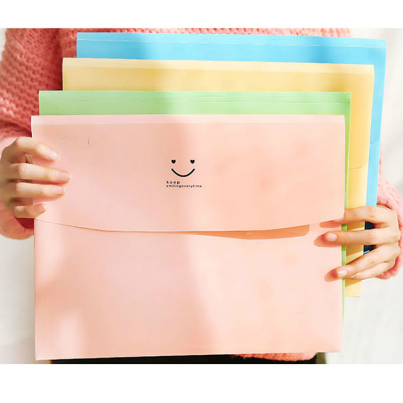 20PC Smile A4 PVC Bag School Office Supplies File Folder Bag Stationery Aper Document Office File Folders Office Necessaries