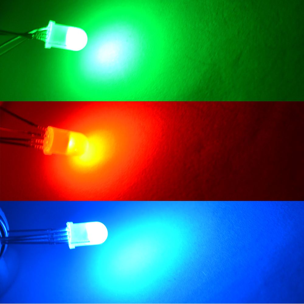 100pcs F5 5mm Round 4pin Diffused RGB Tri Color Common Cathode Common Anode Red Green Blue emitting Diodes LED Lamp Bulb Diodes in Light Beads from Lights Lighting