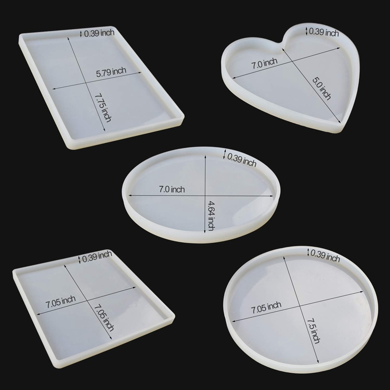 Large Resin Silicone Molds Shiny Epoxy Resin Molds Including Round, Square, Rectangle, Heart, Oval Shape Casting Molds, Diy Si